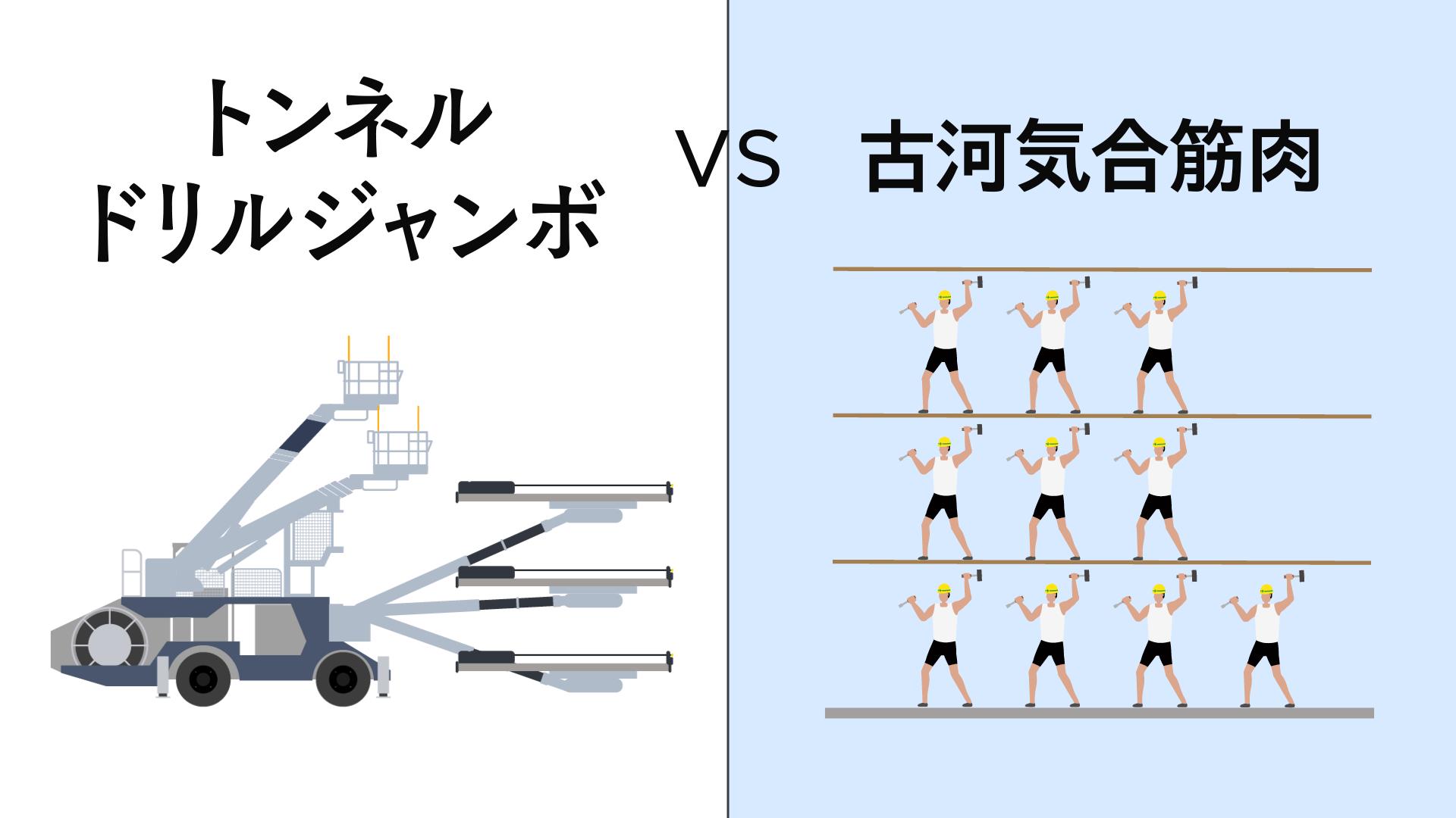 重機対決第2回戦|トンネルドリルジャンボ VS 古河気合筋肉